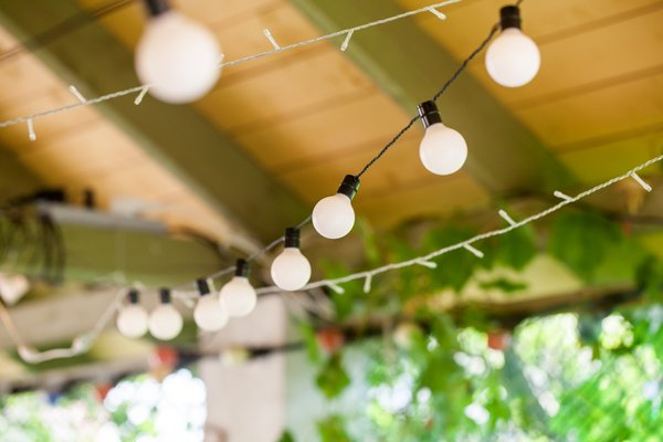 Outdoor string lights hanging in garden