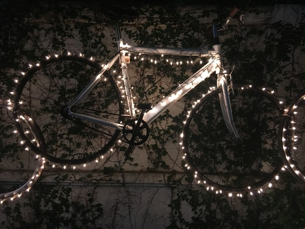 Bicycle and fairy lights in a garden at night time