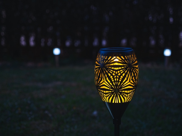 Garden LED lights with stencilled pattern