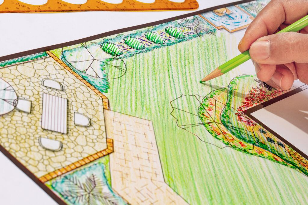 Designing a backyard garden plan on paper with coloured pencils