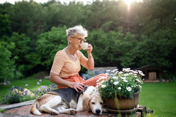 Portrait of senior woman with pet dog sitting outdoors in garden, relaxing with coffee.