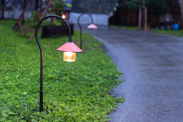 Walkway lighting in a garden