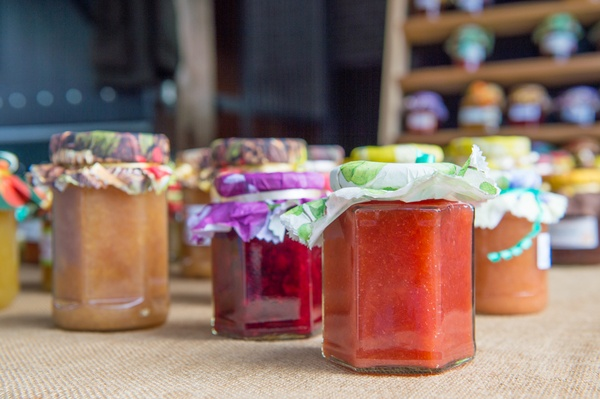 Several jars of home made jam